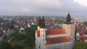 St Maria Cathedral in the old Hansa city Visby on Gotland in Sweden, Aerial Stock Photography
