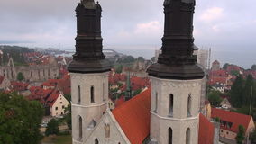 St Maria Cathedral in the old Hansa city Visby on Gotland in Sweden, Aerial Stock Photos