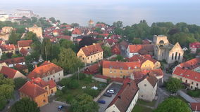 St Maria Cathedral in the old Hansa city Visby on Gotland in Sweden, Aerial Royalty Free Stock Photos