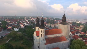 St Maria Cathedral in the old Hansa city Visby on Gotland in Sweden, Aerial Royalty Free Stock Photo