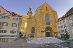 St Maria Himmelfahrt in Chur at sunrise in winter Stock Photography