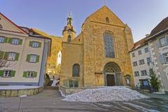 St Maria Himmelfahrt in Chur at sunrise in winter Stock Photography