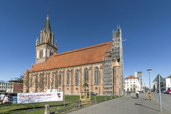 St. Maria`s Church in Neubrandenburg, Germany. NEUBRANDENBURG, GERMANY - APR 1, 2016: St. Maria`s Church in Neubrandenburg, Germany. The church was, partly stock image