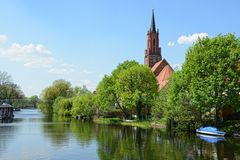 St. Marien Andreas Church of Ratheow in springtime Germany Stock Images