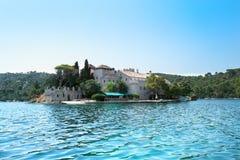 St. Marija monastery on litle island on Mljet Royalty Free Stock Image
