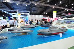 ST Marine showcasing its fleet of new generation offshore, fearless and littoral mission vessels at Singapore Airshow Royalty Free Stock Photography