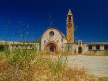 St Mark catholic church in Kattavia, Rhodes island. Greece. Summertime, vivid blue sky, abandoned temple stock photo