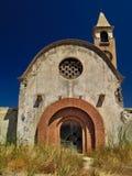 St Mark catholic church in Kattavia, Rhodes island. Greece. Summertime, vivid blue sky, abandoned temple royalty free stock photography
