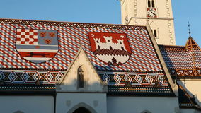 St. Mark church with emblems of Croatia and Zagreb on the roof stock video