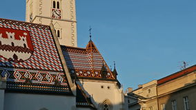 St. Mark church with emblems of Croatia and Zagreb on the roof