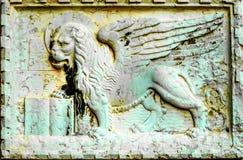 St Mark Lion Stone Sculpture Symbol Venice Italia Imágenes de archivo libres de regalías