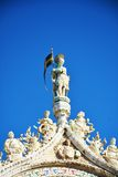 St. Mark`s basilica, sculture, in Venice, Italy Royalty Free Stock Image