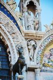 St. Mark`s basilica, stone detail and mosaic, in Venice, Italy Stock Photography