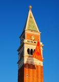 St Mark's Campanile. Photo taken during the carnival in February in Venice, Italy Royalty Free Stock Images
