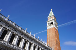 St Mark`s Campanile the bell tower of St Mark`s Basilica in the Piazza San Marco Stock Photos