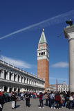 St Mark`s Campanile the bell tower of St Mark`s Basilica in the Royalty Free Stock Photo