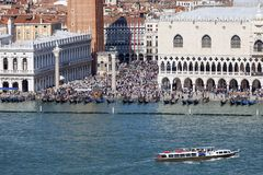 St Mark`s Campanile and gothic Doge`s Palace on Piazza San Marco, Venice, Italy Stock Images