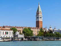 St Mark`s Campanile in Venice. A view across the grand canal towards St Mark`s Campanile in Venice, Italy Stock Images
