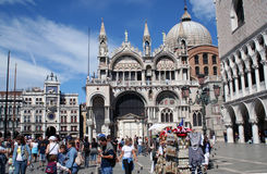 St. Mark's Cathedral. Square and Cathedral of St. Mark in Venice royalty free stock photo