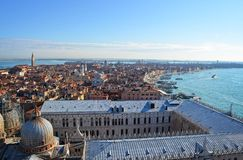 St. Mark's Cathedral in Venice from above with city roofs in distance Stock Photo