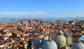 St. Mark's Cathedral in Venice  from above with city roofs Stock Image