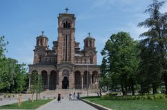 St. Mark`s Church or Church of St. Mark is a Serbian Orthodox c royalty free stock photo