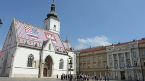St. Mark's Church in Zagreb. View of St. Mark's Church in the center of Zagreb stock footage