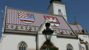 St. Mark's Church in Zagreb. View of St. Mark's Church in the center of Zagreb stock video footage