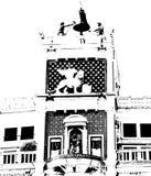 St Mark's Clocktower with lion bw Stock Photo