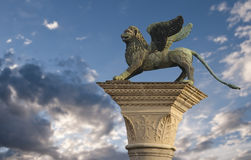 St Mark's Lion, Venice. The winged lion of St Mark overlooking Saint Mark's Square in Venice, Italy Stock Photography