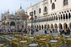 St Mark's Square. Piazza San Marco, often known in English as St Mark's Square, is the principal public square of Venice, Italy. The Piazza is dominated at its Royalty Free Stock Photos