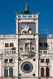 St. Mark's square clock tower in Venice Stock Photo