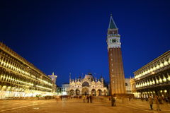 St. Mark S Square In Vencie At Night Royalty Free Stock Photos