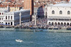 St. Mark`s Square Piazza San Marco, Piazzetta, crowd of tourists, Venice, Italy. VENICE, ITALY-SEPTEMBER 21, 2017 : St. Mark`s Square Piazza San Marco, Piazzetta Royalty Free Stock Photography