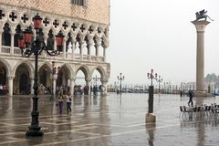 St Mark's Square, Piazzetta and rain Stock Photography