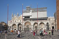 St. Mark`s Square with pigeons royalty free stock photo