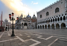 St Mark's Square at sunrise Royalty Free Stock Photo