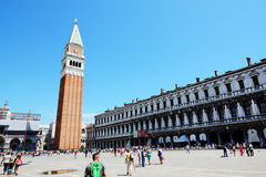 The St Mark's Square with tourists Stock Image