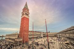 St Mark`s square and Bell Tower in Venice. Italy stock photo