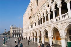 People walk by San Marco square in Venice, Italy. royalty free stock images