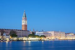 St. Mark`s Tower and Doge Palace in Venice At Night Royalty Free Stock Photo