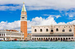 St Mark square, Campanile and Ducale or Dog. Venice landmark, view from sea of Piazza San Marco or st Mark square, Campanile and Ducale or Doge Palace. Italy Stock Images
