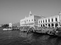 St Mark square seen fron St Mark basin in Venice in black and white Royalty Free Stock Image