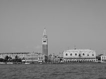 St Mark square seen fron St Mark basin in Venice in black and white Royalty Free Stock Photography