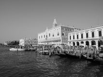 St Mark square seen fron St Mark basin in Venice in black and white Royalty Free Stock Images
