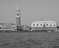 St Mark square seen fron St Mark basin in Venice in black and white Stock Photo