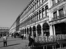 St Mark square in Venice in black and white Royalty Free Stock Images
