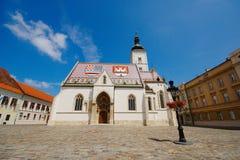 St Mark Square, Zagreb, Kroatien Fotografering för Bildbyråer