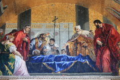 St. Mark venerated by the venetians. Mosaic in St. Mark Basilica depicting the body of St. Mark venerated by the venetians. Venice, Italy Stock Photography