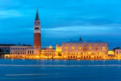 St. Marks Campanile and Doge Palace, night, Venice Royalty Free Stock Image